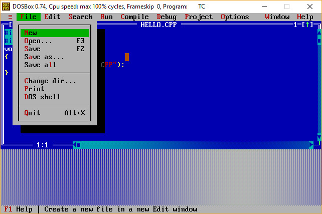 Turbo C Menu File Options