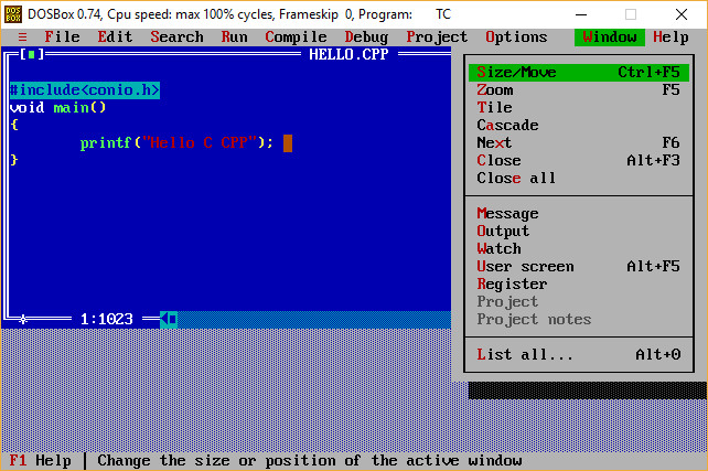 Turbo C Menu Window Options