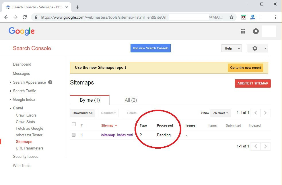 check yoast sitemp submission status in google search console