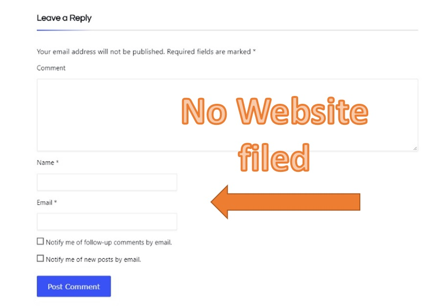 Removed Website Field from Comment Form of Wordpress