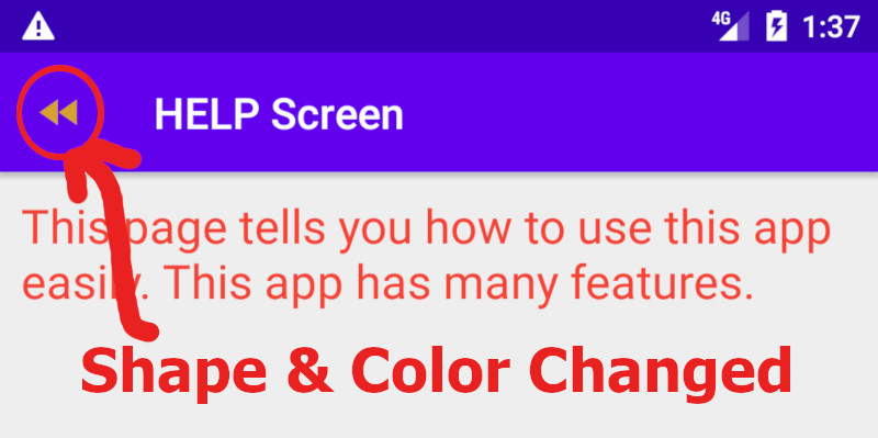 Android toolbar back button shape and color change