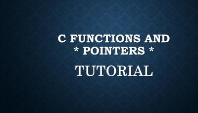c functions and pointers tutorial