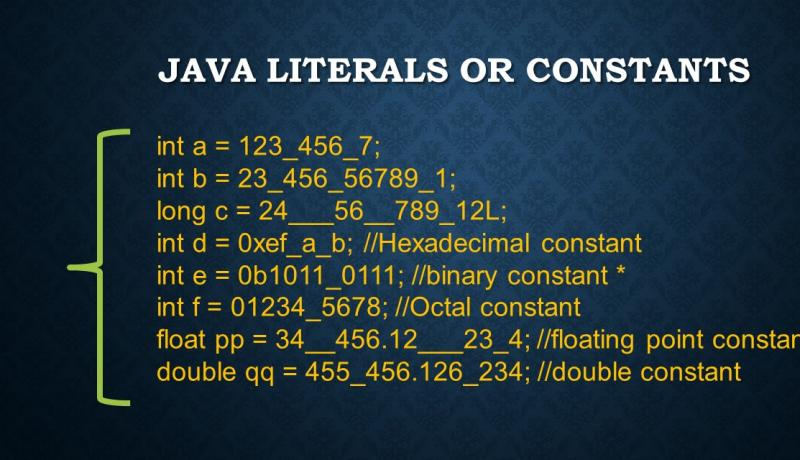 java literals or constants explained